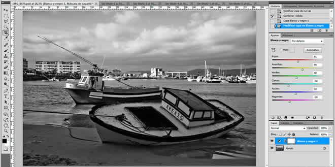 Ajustes de blanco y negro con Photoshop